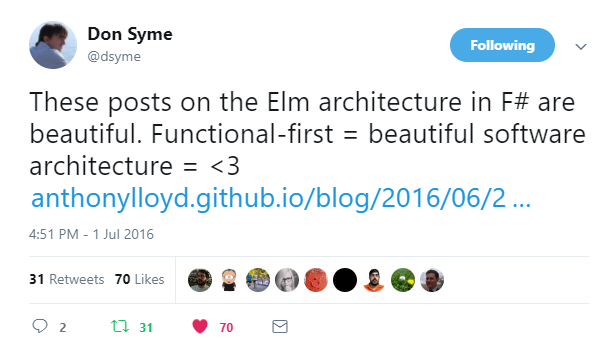 F# Implementation of The Elm Architecture · Anthony Lloyd